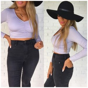 NEW!! Ruched v neck long sleeve crop top lilac